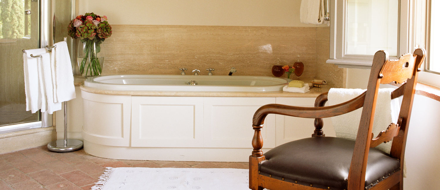 Unwind in the master bathroom's soaking tub