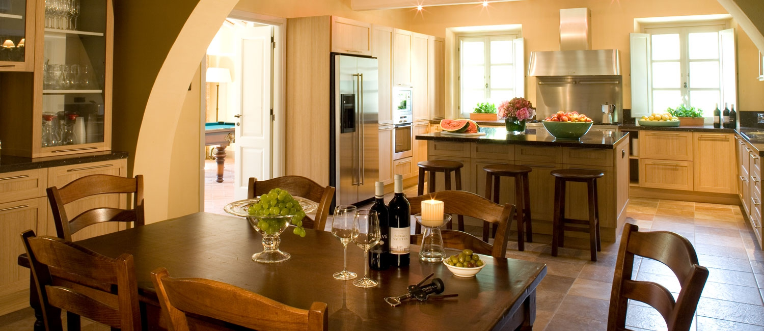 The farmhouse-style kitchen and breakfast area, perfect for entertaining